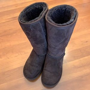 UGG Uggs Girls Tall Brown Fur Boots Shoes 4
